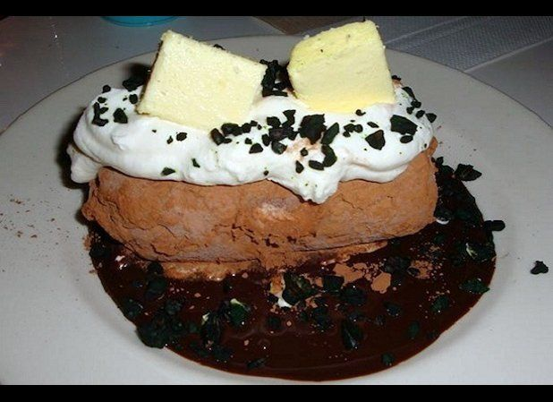Cowgirl in New York City makes a specialty dessert that they call the ice cream baked potato, and it looks just like it sound