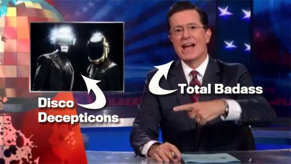 "After Daft Punk cancelled their appearance on ""The Colbert Report"" the day before the taping, Colbert took the high road and"
