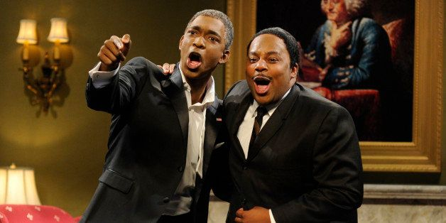 SATURDAY NIGHT LIVE -- 'Adam Levine' Episode 1632 -- Pictured: (l-r) Jay Pharoah, Kenan Thompson -- (Photo by: Dana Edelson/N