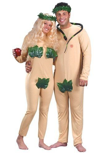 Consider this the original couple's costume sin. Also, to do Adam & Eve in a full body nude suit shows a lack of commitment,