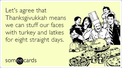 "To send this card, <a href=""http://www.someecards.com/thanksgivukkah-cards/thanksgiving-hanukkah-turkey-latke-eight-days-funn"