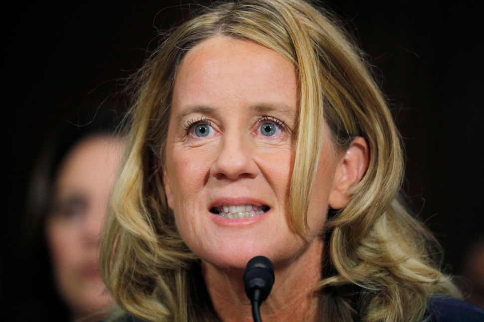"During a separate exchange, Sen. Dick Durbin (D-Ill.), asked Blasey, ""Dr. Ford, with what degree of certainty do you be"