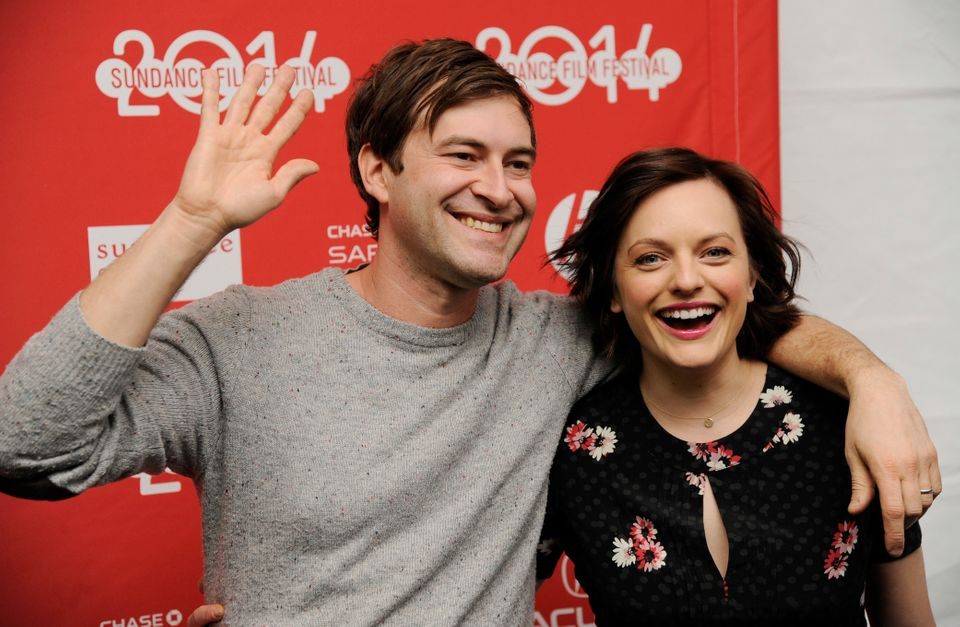 "Mark Duplass, left, and Elisabeth Moss, cast members in ""The One I Love,"" pose together at the premiere of the film at the 20"