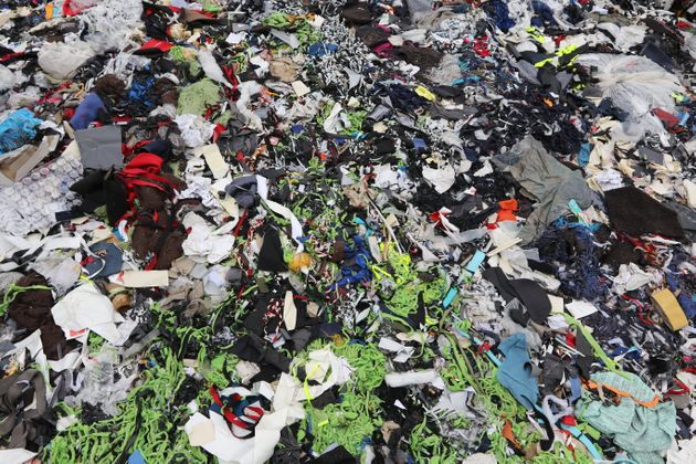 Garment factory waste at a dumping site in Dhaka,