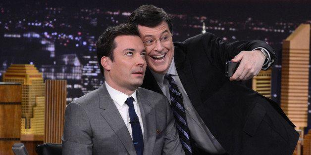 NEW YORK, NY - FEBRUARY 17:  Stephen Colbert visits 'The Tonight Show Starring Jimmy Fallon' at Rockefeller Center on Februar