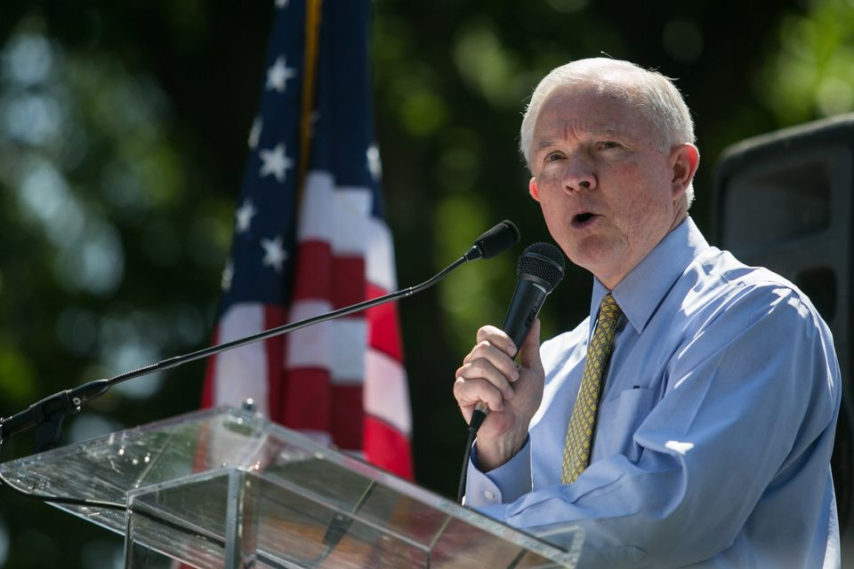 <strong>Status:</strong> Running for re-election  Sen. Jeff Sessions (R-AL) speaks during the DC March for Jobs in Upper Sena