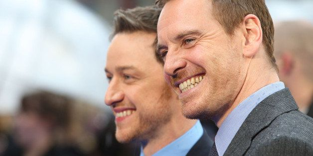 LONDON, ENGLAND - MAY 12:  James McAvoy and Michael Fassbender attend the UK Premiere of 'X-Men: Days of Future Past' at Odeo