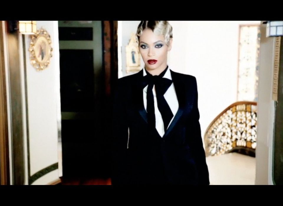 A suited-up Beyoncé and another look at her short-lived pixie cut.