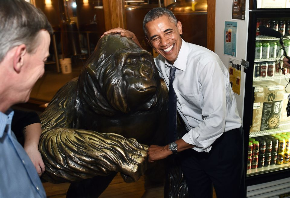US President Barack Obama fist bumps with a statue of a gorilla at a pub in Denver, Colorado, on July 8, 2014. AFP PHOTO/Jewe
