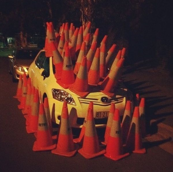 The orange cones let you know it's working.
