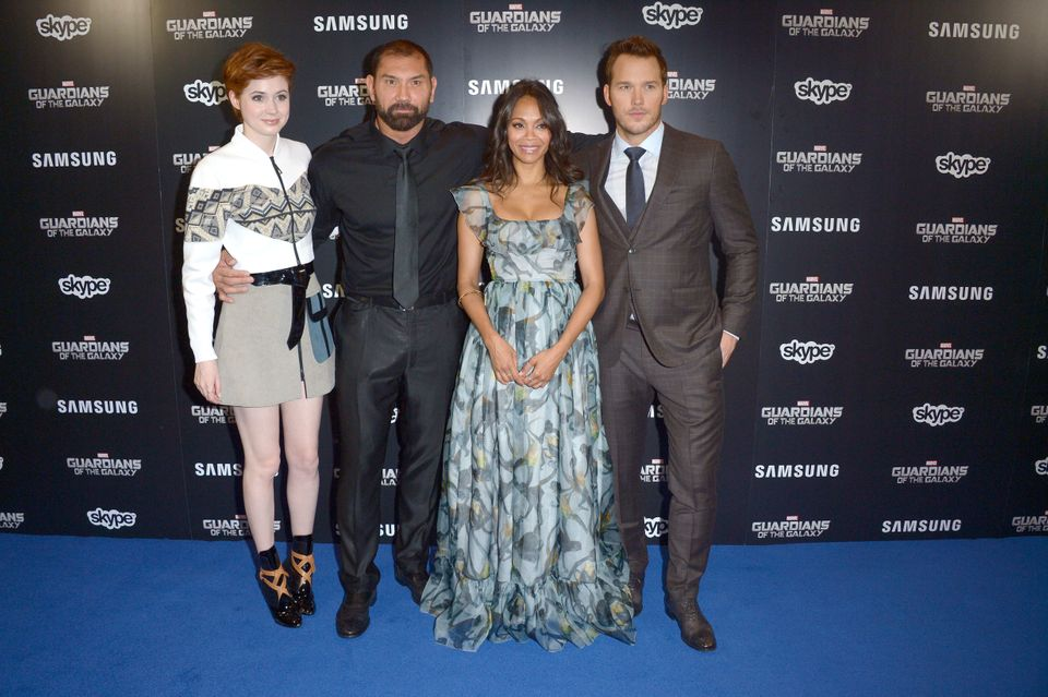 Karen Gillan, David Bautista, Zoe Saldana, Chris Pratt and attend Guardians Of The Galaxy Premiere in leicester square,  Lond