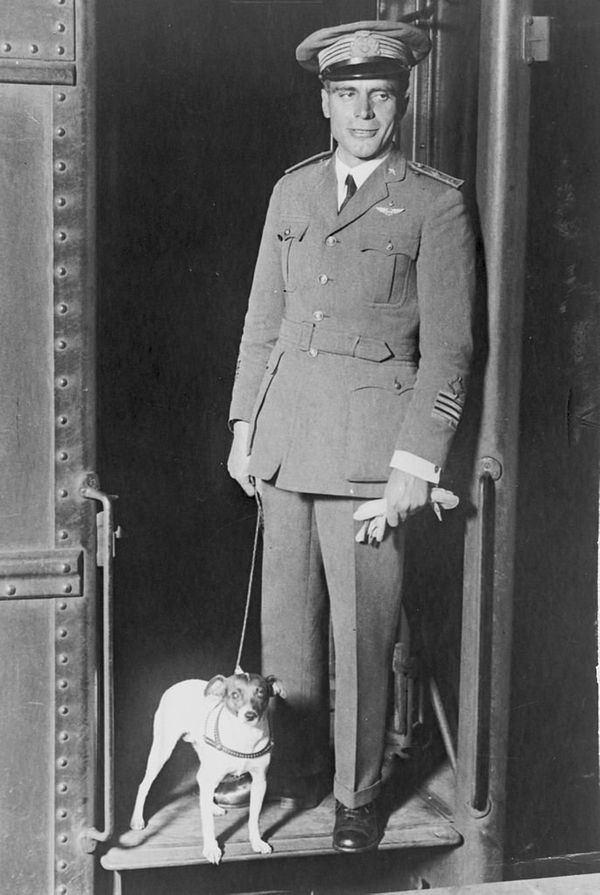 This black-and-white fox terrier accompanied her owner, Umberto Nobile (pictured), on a history-making flight across the Nort