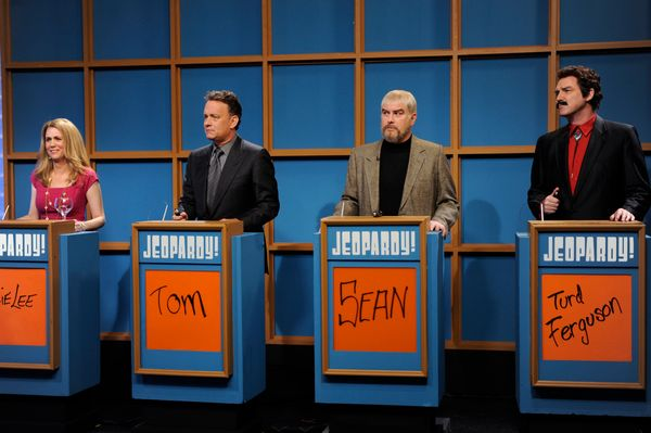 Pictured: (l-r) Kristen Wiig as Kathie Lee Gifford, Tom Hanks, Darrell Hammond as Sean Connery, Norm McDonald as Burt Reynold