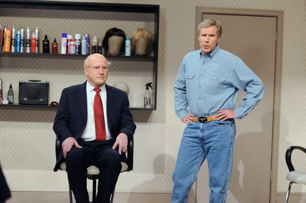 Pictured: (l-r) Darrell Hammond as Dick Cheney, Will Ferrell as George W. Bush during the 'Cheney In Makeup' skit on May 16,