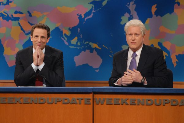 Pictured: (l-r) Seth Meyers, Darrell Hammond as Bill Clinton during the 'Weekend Update' skit on Nov. 22, 2008  (Photo by Dan