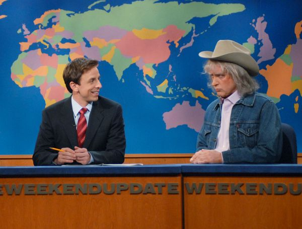 Pictured: (l-r) Amy Poehler, Seth Meyers, Darrell Hammond as Don Imus during 'Weekend Update' on April 14, 2007  (Photo by Da