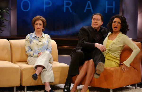 Pictured: (l-r) Rachel Dratch as Rhonda Rogan, Darrell Hammond as John Travolta, Maya Rudolph as Oprah Winfrey during 'Oprah'