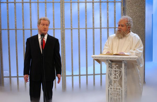 Pictured: (l-r) Darrell Hammond as Rodney Dangerfield, Horatio Sanz as St. Peter during 'Rodney in Heaven' skit  (Photo by Ma