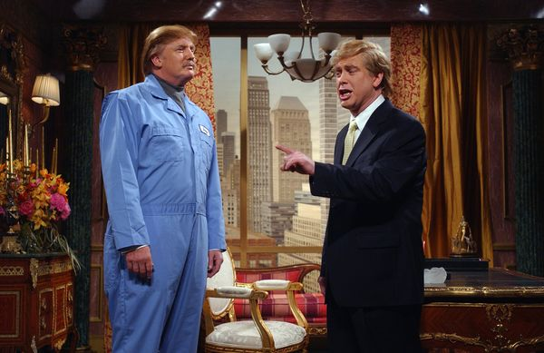 Pictured: (l-r) Donald Trump as Jerry the Janitor, Darrell Hammond as Donald Trump during 'The Prince and the Pauper' skit on