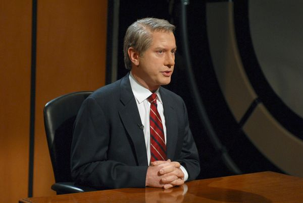 Pictured: Darrell Hammond as Dan Rather during 'The Fringe Candidates Debates' skit on May 12, 2007  (Photo by Dana Edelson/N