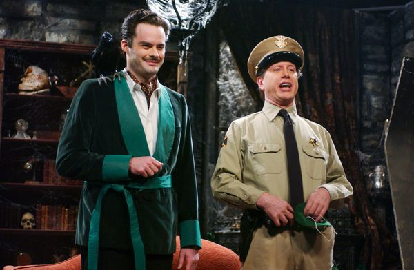 Pictured: (l-r) Bill Hader as Vincent Price, Darrell Hammond as Don Knotts during 'Vincent Price's St. Patrick's Day Special'