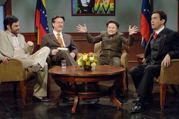 Pictured: (l-r) Bill Hader as Mahmoud Ahmadinejad, Darrell Hammond as Pervez Musharraf, Amy Poehler as Kim Jong Il, Fred Armi