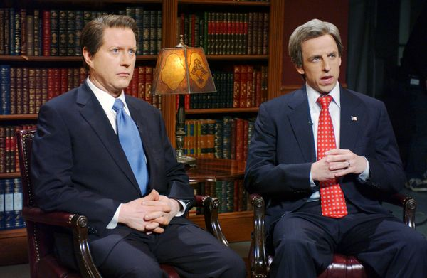 Pictured: (l-r) Darrell Hammond as Al Gore, Seth Meyers as John Kerry during 'Weekend Update' on Jan. 21, 2006  (Photo by Dan