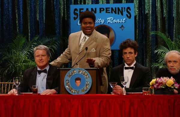 Pictured: (l-r) Darrell Hammond as Clint Eastwood, Kenan Thompson as Bernie Mac, Seth Meyers as Sean Penn, Fred Armisen as Ge