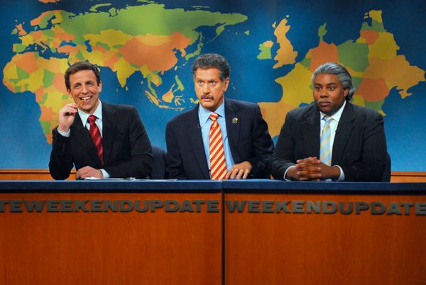 Pictured: (l-r) Seth Meyers, Darrell Hammond as Jesse Jackson, Kenan Thompson as Al Sharpton during 'Weekend Update' on Feb.