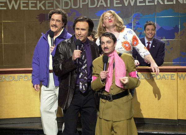 Pictured: (l-r) Darrell Hammond as Geraldo Rivera, Will Ferrell as Neil Diamond, Chris Kattan as Gay Hitler, Jeff Richards as