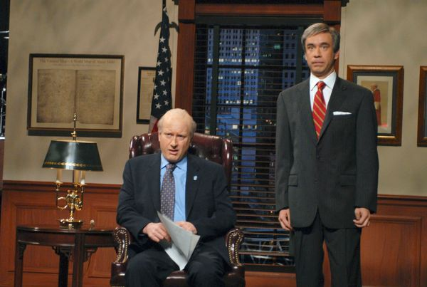 Pictured: (l-r) Darrell Hammond as Fred Thompson, Fred Armisen as Sam Waterston during 'A Message from Fred Thompson ' skit o