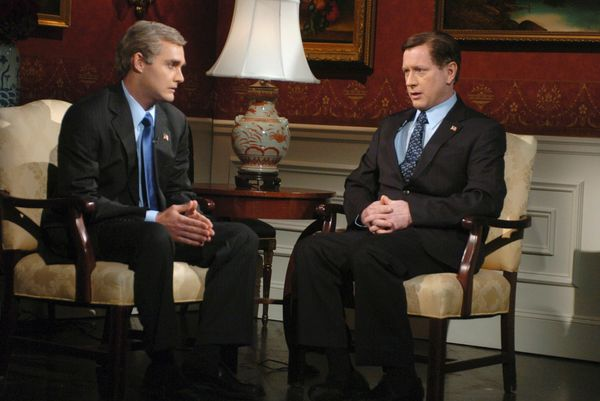 Pictured: (l-r) Will Forte as George W. Bush, Darrell Hammond as Brit Hume during 'Special Report' skit on Oct. 21, 2006  (Ph