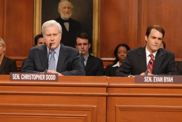 Pictured: (l-r) Darrell Hammond as Christopher Dodd, Will Forte as Evan Bayh during the 'Blagojevich Hearing' skit on Dec. 13