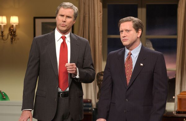 Pictured: (l-r) Will Ferrell as President George W. Bush, Darrell Hammond as John Ashcroft during 'You Might Be A Terrorist'