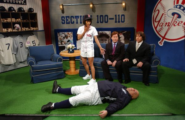 Pictured: (l-r) Halle Berry as Cindy Cooper, Darrell Hammond as Bob Costas, Jeff Richards as Pete Rose, Horatio Sanz as Don Z