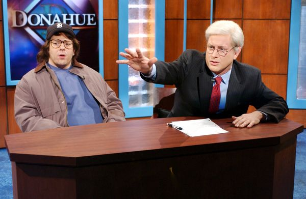 Pictured: (l-r) Jeff Richards as Michael Moore, Darrell Hammond as Phil Donahue during 'Donahue' skit on Nov. 16, 2002  (Phot