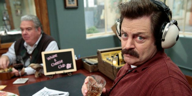 PARKS & RECREATION -- 'Farmers Market' Episode 612 -- Pictured: (l-r) Jim O'Heir as Jerry, Nick Offerman as Ron Swanson -- (P