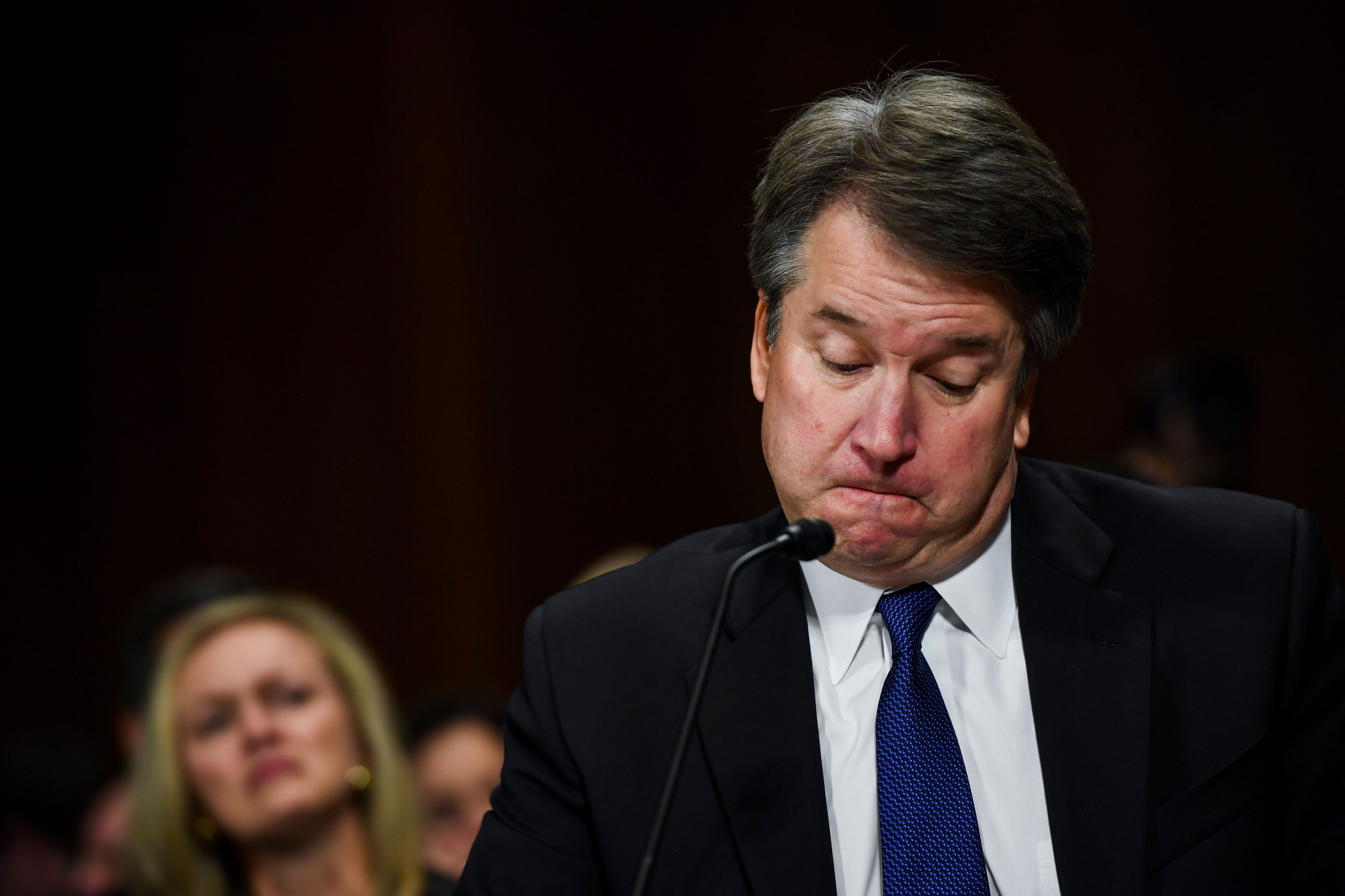 WASHINGTON, DC - SEPTEMBER 27: Judge Brett M. Kavanaugh tears up at a Senate Judiciary Committee hearing on Thursday, September 27, 2018 on Capitol Hill. Blasey Ford, a professor at Palo Alto University and a research psychologist at the Stanford University School of Medicine, has accused Supreme Court nominee Brett Kavanaugh of sexually assaulting her during a party in 1982 when they were high school students in suburban Maryland. (Photo by Matt McClain-Pool/Getty Images)