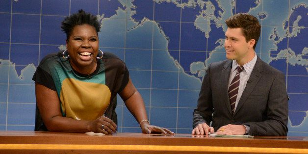 SATURDAY NIGHT LIVE -- 'Chris Pratt' Episode 1663 -- Pictured: (l-r) Relationship expert Leslie Jones, Colin Jost and Michael