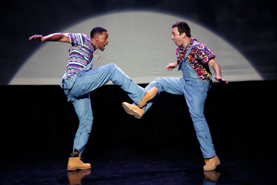 "Will Smith and Jimmy Fallon performed the <a href=""https://www.huffpost.com/entry/jimmy-fallon-evolution-of-hip-hop-dancing-w"