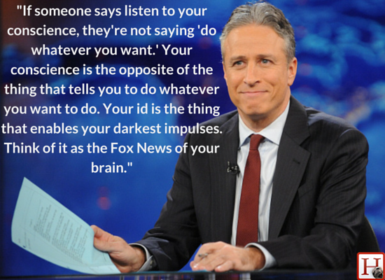 "Jon Stewart discovered that <a href=""https://www.huffpost.com/entry/jon-stewart-fox-news-conscience_n_5477421"" target=""_blank"