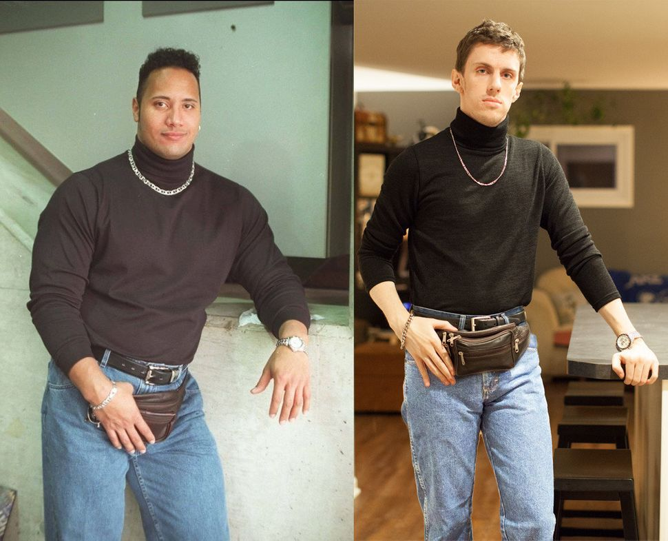 "The Rock's '90s look became a <a href=""https://www.huffpost.com/entry/best-halloween-costumes-2014-photos_n_5983644"" target="""