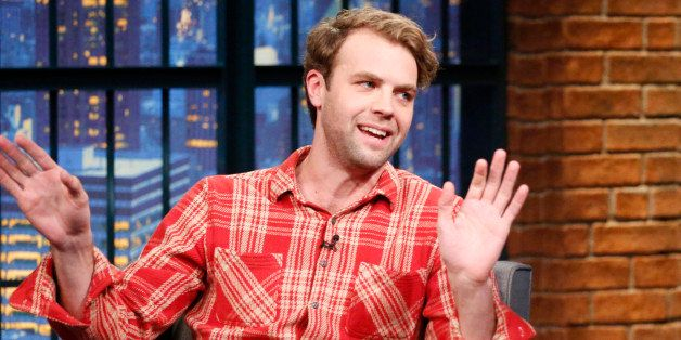 LATE NIGHT WITH SETH MEYERS -- Episode 0159 -- Pictured: (l-r) Comedian Brooks Wheelan during an interview with host Seth Mey