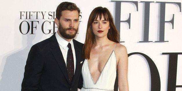 LONDON, UNITED KINGDOM - FEBRUARY 12: Jamie Dornan and Dakota Johnson attends the UK Premiere of 'Fifty Shades Of Grey' at Od