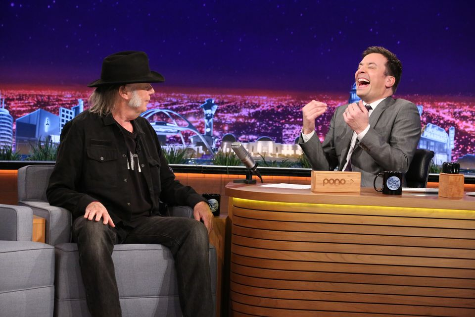 THE TONIGHT SHOW STARRING JIMMY FALLON -- Episode 0203 -- Pictured: (l-r) Musician Neil Young during an interview with host J