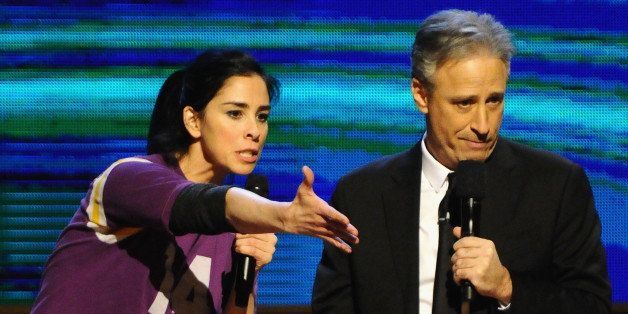 NEW YORK, NY - FEBRUARY 28:  Sarah Silverman (L) and Jon Stewart perform on stage at Comedy Central's 'Night of Too Many Star