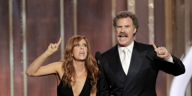 BEVERLY HILLS, CA - JANUARY 13: In this handout photo provided by NBCUniversal, Kristen Wiig and Will Ferrell on stage to pre