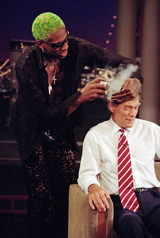 "Dennis Rodman gives Dave a new look on ""The Late Show with David Letterman,"" August 20, 1996 on the CBS Television Network. P"
