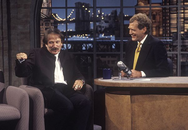 "Robin Williams on the second taping of ""The Late Show with David Letterman,"" August 31, 1993 on the CBS Television Network. P"