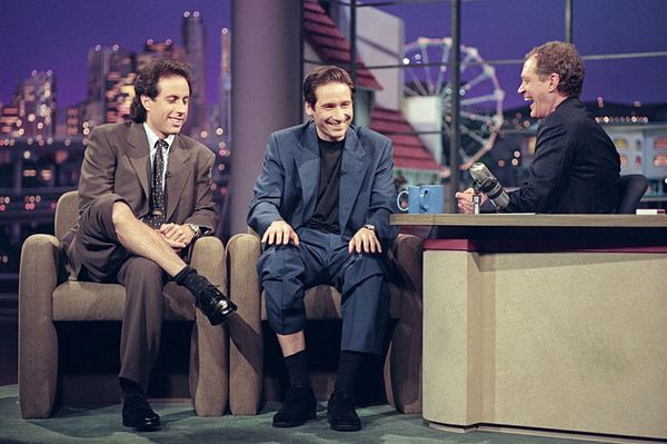 "Jerry Seinfeld and David Duchovny from the ""X-Files"" on ""The Late Show with David Letterman,"" November 10, 1995 on the CBS Te"